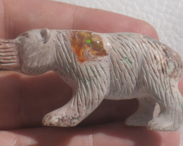 Unique Nature Beauty Gift Matrix Opal Carving Mesmerizing Bear