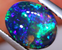 N 1-  2.42 CTS QUALITY BLACK OPAL POLISHED STONE  INV-1911