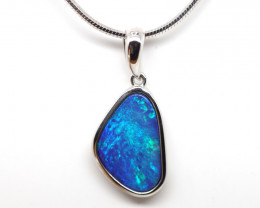 925 ST/ SILVER RHODIUM PLATED OPAL DOUBLET PENDANT [FP37]