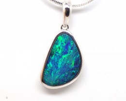 925 ST/ SILVER RHODIUM PLATED OPAL DOUBLET PENDANT [FP44]