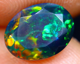 1.26cts Natural Ethiopian Welo Faceted Smoked Opal / HM1276