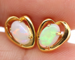 925 ST/ SILVER GOLD RHODIUM PLATED CRYSTAL OPAL EARRINGS [FE4]