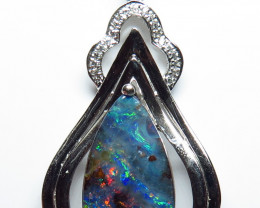 Australian Boulder Opal Silver and CZ Pendant