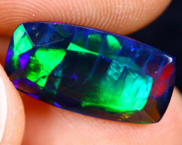 2.94cts Natural Ethiopian Faceted Smoked Welo Opal / HM1301
