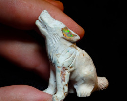 Unique Nature Beauty Gift Matrix Opal Carving Mesmerizing Wolf