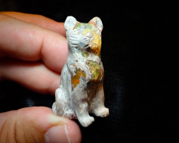 110ct Unique Nature Beauty Gift Matrix Opal Carving Mesmerizing Cat