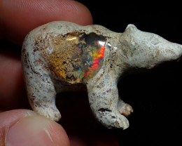 90ct Unique Nature Beauty Gift Matrix Opal Carving Mesmerizing Bear