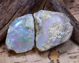 Welo Rough 43.64Ct Natural Ethiopian Play Of Color Rough Opal D1606
