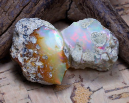 Welo Rough 35.01Ct Natural Ethiopian Play Of Color Rough Opal D1609