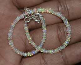 10.80 CT OPAL BRACELET MADE OF NATURAL ETHIOPIAN BEADS STERLING SILVER OBB7