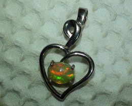 Silver Solid Crystal Opal Pendant