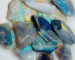 Cutters Select Rough - 50 Cts of Bright Multicolour Rough Seam Opals to Cut