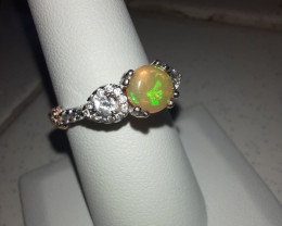 Sterling, Ethiopian Welo Opal and Cz Ring