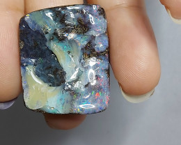 37.90cts PINK AND GREEN SQUARE BOULDER OPAL(ONRA-B20228)
