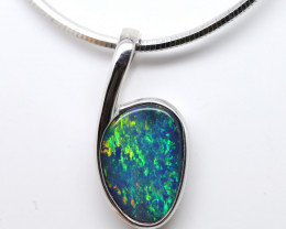 925 ST/ SILVER RHODIUM PLATED OPAL DOUBLET PENDANT [FP57]