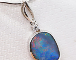 925 ST/ SILVER RHODIUM PLATED OPAL DOUBLET PENDANT [FP60]