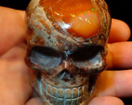 2000ct Unique Nature Beauty Gift Matrix Opal Carving Mesmerizing Skull