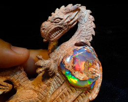 500ct Unique Nature Beauty Gift Matrix Opal Carving Mesmerizing Dragon