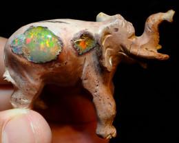 120ct Unique Nature Beauty Gift Matrix Opal Carving Mesmerizing Elephant