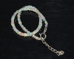 10.55 CT OPAL BRACELET MADE OF NATURAL ETHIOPIAN BEADS STERLING SILVER OBB8
