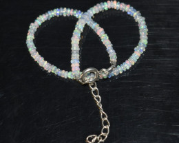 10.35 CT OPAL BRACELET MADE OF NATURAL ETHIOPIAN BEADS STERLING SILVER OBB9