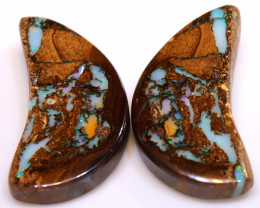 53.65 CTS   BOULDER  OPAL WOOD FOSSIL PAIR   DO-1234