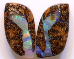 32.60 CTS   BOULDER  PIPE  OPAL  PAIR   DO-1235