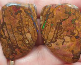 107 Carat Boulder Opal Rough Rub Split Pair Green & Blue Matrix