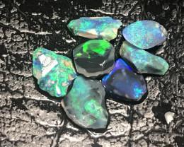 Parcel of Black Crystal Opal Rough Rubs - Lightning Ridge