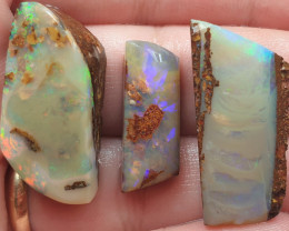43.95 Carat Total Parcel of 3 x Boulder Opal Pipe Crystal Opal Rubs
