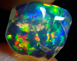 2.54ct Water Opal With Play Of Colour Bright Carved