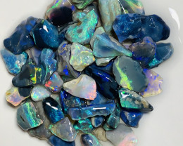 Tray of Gems- 75 CTs Bright Multicolour Black Seam Rough#2279