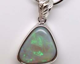 925 ST/ SILVER RHODIUM PLATED CRYSTAL OPAL PENDANT [FP67]