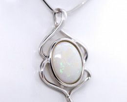 925 ST/ SILVER RHODIUM PLATED CRYSTAL OPAL PENDANT [FP75]