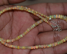 OPAL NECKLACE MADE WITH NATURAL ETHIOPIAN BEADS STERLING SILVER OBJ-125