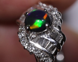PLATINUM BLACK OPAL RING GOLD AND DIAMONDS [FS28]