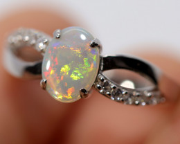 925 ST/ SILVER RHODIUM PLATED CRYSTAL OPAL RING [FR32]