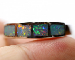 925 ST/ SILVER RHODIUM PLATED OPAL INLAY RING [FR38]