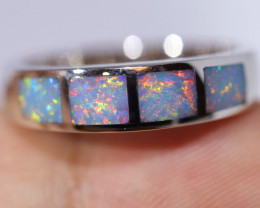 925 ST/ SILVER RHODIUM PLATED OPAL INLAY RING [FR39]