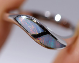 925 ST/ SILVER RHODIUM PLATED OPAL INLAY RING [FR42]