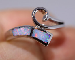 925 ST/ SILVER RHODIUM PLATED OPAL INLAY RING [FR43]