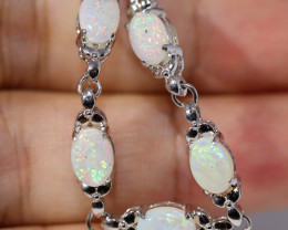 925 SILVER Rhodium Plated CRYSTAL  OPAL BRACELET   [FB2]