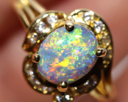 18K GOLD   BLACK  OPAL RINK  WITH DIAMOND [CR73]