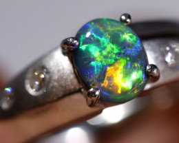 PLATINUM   BLACK OPAL RING  AND DIAMONDS [CR79]
