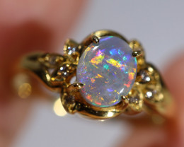 18K GOLD BLACK OPAL RING GOLD AND DIAMONDS [CR82]