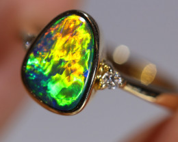 14K GOLD OPAL DOUBLET RING GOLD AND DIAMONDS [CR91]