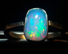8sz SOLID CRYSTAL OPAL HIGH QUALITY .925 STERLING FABULOUS RING