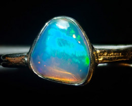 7.2sz SOLID CRYSTAL OPAL HIGH QUALITY .925 STERLING FABULOUS RING
