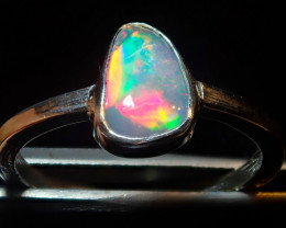 9sz SOLID CRYSTAL OPAL HIGH QUALITY .925 STERLING FABULOUS RING