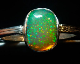 $1 NR Auction 8.5sz SOLID CRYSTAL OPAL HIGH QUALITY .925 STERLING FABULOUS
